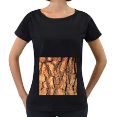Bark Texture Wood Large Rough Red Wood Outside California Women s Loose Fit T Shirt (black)