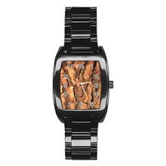 Bark Texture Wood Large Rough Red Wood Outside California Stainless Steel Barrel Watch