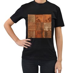 Barnwood Unfinished Women s T Shirt (black)