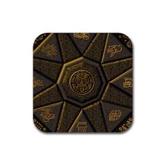 Aztec Runes Rubber Square Coaster (4 Pack)
