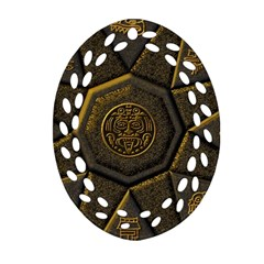 Aztec Runes Oval Filigree Ornament (two Sides)