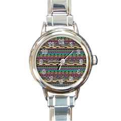 Aztec Pattern Cool Colors Round Italian Charm Watch
