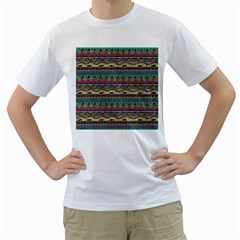 Aztec Pattern Cool Colors Men s T Shirt (white) (two Sided)