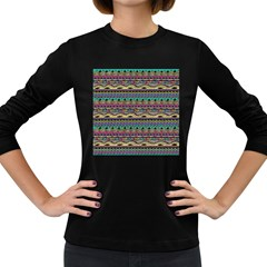 Aztec Pattern Cool Colors Women s Long Sleeve Dark T Shirts