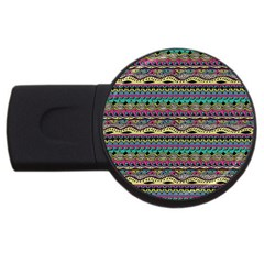 Aztec Pattern Cool Colors Usb Flash Drive Round (4 Gb)