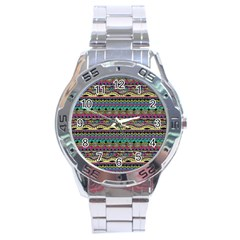 Aztec Pattern Cool Colors Stainless Steel Analogue Watch