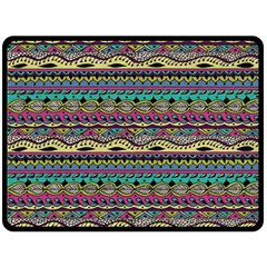 Aztec Pattern Cool Colors Double Sided Fleece Blanket (large)