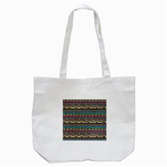 Aztec Pattern Cool Colors Tote Bag (white)