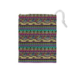 Aztec Pattern Cool Colors Drawstring Pouches (medium)