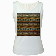 Aztec Pattern Ethnic Women s White Tank Top
