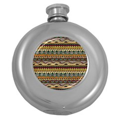 Aztec Pattern Ethnic Round Hip Flask (5 Oz)