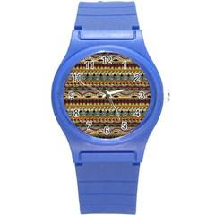 Aztec Pattern Ethnic Round Plastic Sport Watch (s)
