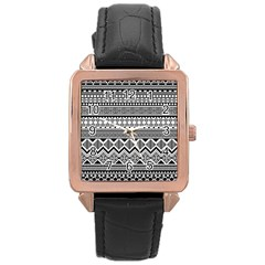 Aztec Pattern Design Rose Gold Leather Watch
