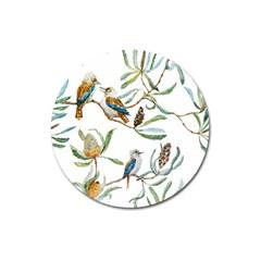 Australian Kookaburra Bird Pattern Magnet 3  (round)