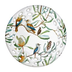 Australian Kookaburra Bird Pattern Ornament (round Filigree)