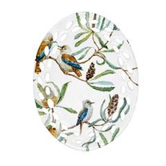 Australian Kookaburra Bird Pattern Ornament (oval Filigree)