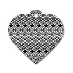 Aztec Design  Pattern Dog Tag Heart (two Sides)