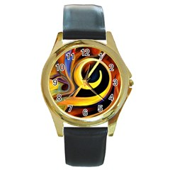 Art Oil Picture Music Nota Round Gold Metal Watch