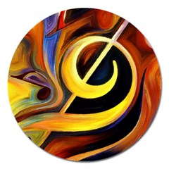 Art Oil Picture Music Nota Magnet 5  (round)