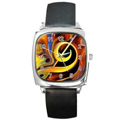 Art Oil Picture Music Nota Square Metal Watch