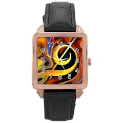 Art Oil Picture Music Nota Rose Gold Leather Watch