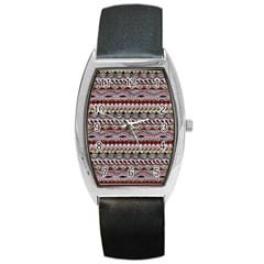 Aztec Pattern Art Barrel Style Metal Watch