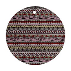 Aztec Pattern Art Round Ornament (two Sides)