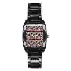 Aztec Pattern Art Stainless Steel Barrel Watch