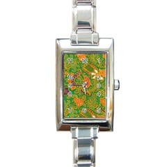 Art Batik The Traditional Fabric Rectangle Italian Charm Watch