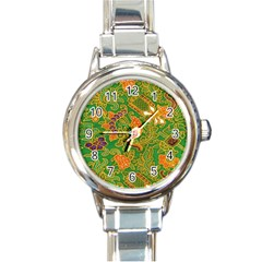 Art Batik The Traditional Fabric Round Italian Charm Watch