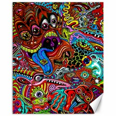 Art Color Dark Detail Monsters Psychedelic Canvas 11  X 14