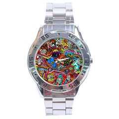 Art Color Dark Detail Monsters Psychedelic Stainless Steel Analogue Watch