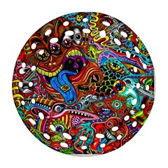 Art Color Dark Detail Monsters Psychedelic Ornament (round Filigree)