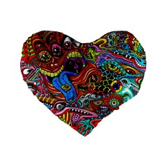 Art Color Dark Detail Monsters Psychedelic Standard 16  Premium Heart Shape Cushions