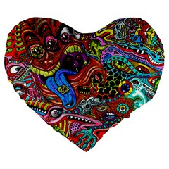 Art Color Dark Detail Monsters Psychedelic Large 19  Premium Heart Shape Cushions