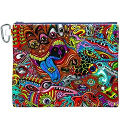 Art Color Dark Detail Monsters Psychedelic Canvas Cosmetic Bag (xxxl)