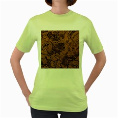 Art Traditional Batik Flower Pattern Women s Green T Shirt