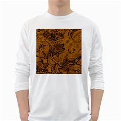 Art Traditional Batik Flower Pattern White Long Sleeve T Shirts