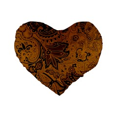 Art Traditional Batik Flower Pattern Standard 16  Premium Flano Heart Shape Cushions