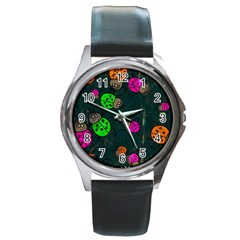 Abstract Bug Insect Pattern Round Metal Watch