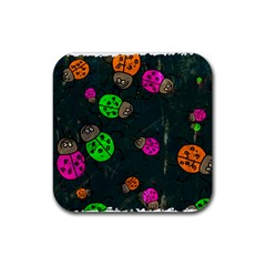 Abstract Bug Insect Pattern Rubber Square Coaster (4 Pack)