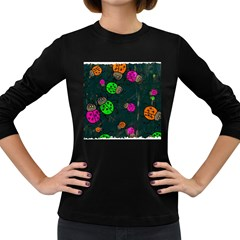 Abstract Bug Insect Pattern Women s Long Sleeve Dark T Shirts