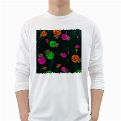 Abstract Bug Insect Pattern White Long Sleeve T Shirts
