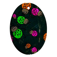 Abstract Bug Insect Pattern Oval Ornament (two Sides)