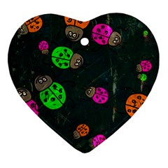 Abstract Bug Insect Pattern Heart Ornament (two Sides)