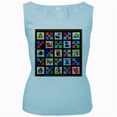 Animal Party Pattern Women s Baby Blue Tank Top