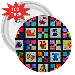 Animal Party Pattern 3  Buttons (100 Pack)