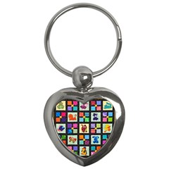 Animal Party Pattern Key Chains (heart)