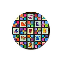 Animal Party Pattern Magnet 3  (round)