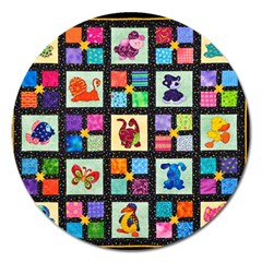 Animal Party Pattern Magnet 5  (round)